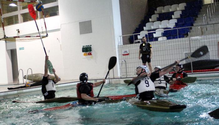 Stoping a canoe polo goal
