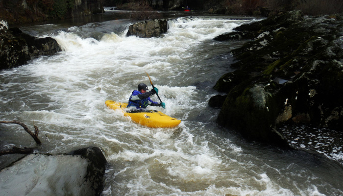Chris Davies at Rhayader rapids - upper Wye