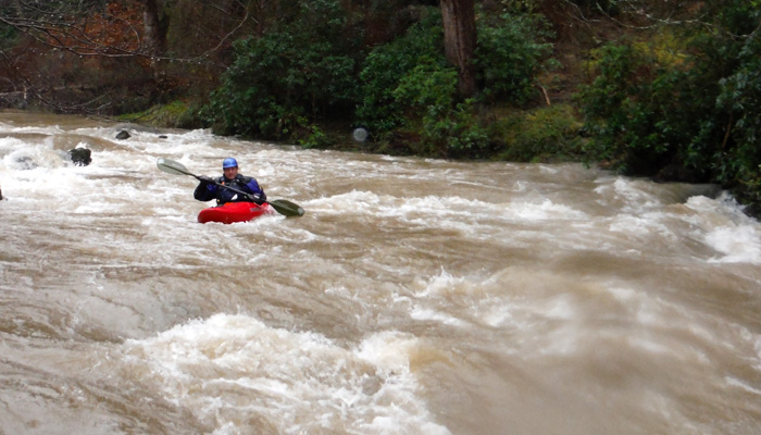 Clint Gaydon paddling the upper Wye