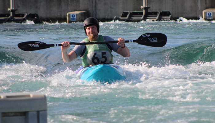 Danny Palmer paddling the legacy course